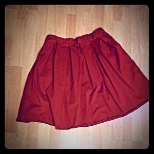 Burgandy half circle skirt